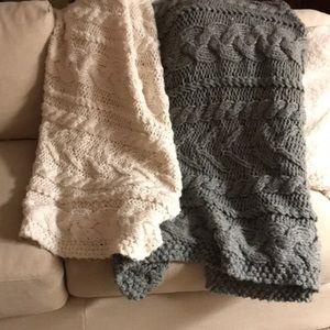 Pottery Barn Grey & Cream knitted Blanket